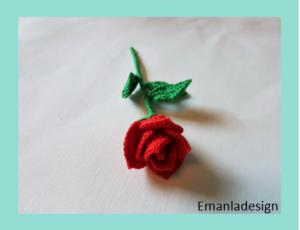 Opskrift på hæklet Rose – mini
