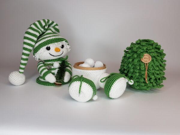 Hæklet Snemand og hæklet Juletræ