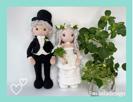 Hækleopskrift på brudepar - brud og brudgom på henholdsvis 43 og 53 cm. Bruden i lang hvid kjole og gommen i kjole og hvidt og høj hat